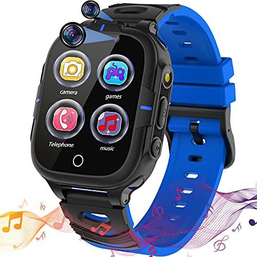 Smartwatch Kinder, Kinder Smartwatch Telefon KinderUhr mit 15 Spiele SOS Anruf Musik Player Video Kamera Anruf Wecker Rechner Touchscreen für Jungen Mädchen Student Geburtstagsgeschenk(Blau)