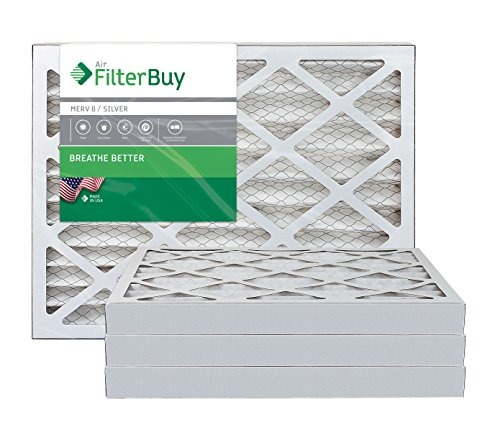 FilterBuy 16x20x2 MERV 8 Pleated AC Furnace Air Filter, (Pack of 4 Filters), 16x20x2 – Silver