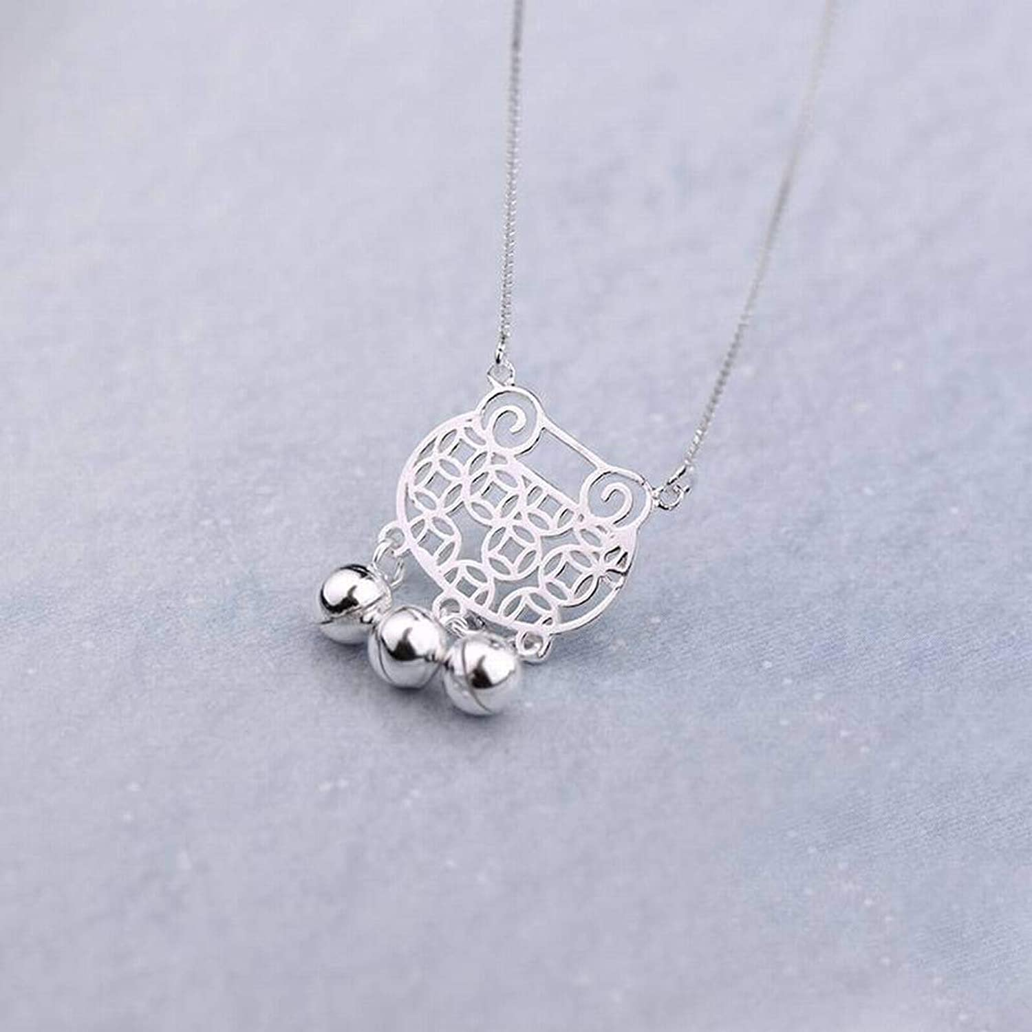 Pendant Necklaces for Women Women's Simple 925 Silver UShaped Plated Necklace S925 Sterling Silver Necklace Long Life Lock Hollow Bell Clavicle Chain Cute Match Bell Silver Necklace