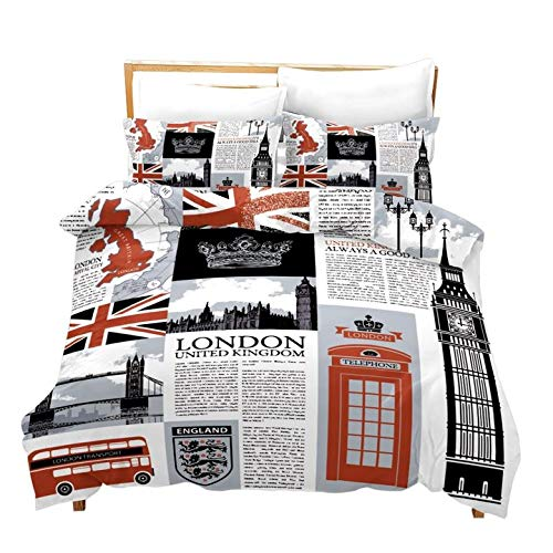 Loussiesd London Bettwäsche Set 135x200 cm 80x80 cm für Kinder Jugendlich UK Unter dem Motto Bettwäscheset The Big Ben Muster Trösterbezug Handyzelle Tagesdecke mit 1 Kissenbezug Einzelbett