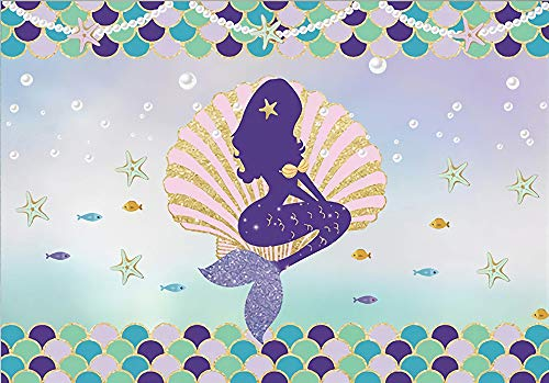 Little Mermaid Princess Backdrop Under The Sea Purple Turquoise Scales Glittering Seashell and Stars Pearl Photography Background Baby Girl Vinyl 7x5ft Birthday Party Decoration SSA020