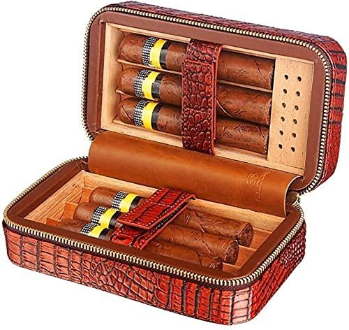 LIUYULONG humidor de Puros Caja de cigarros Viajes Humidor de Cuero Genuino, Madera de Cedro Forrada con humidificador y bandejas extraíbles, Caja de cigarros