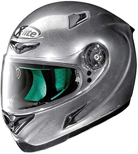 Casco Integral X-Lite X-802RR Start para Motocicleta, Cromo Rayado, tamaño S