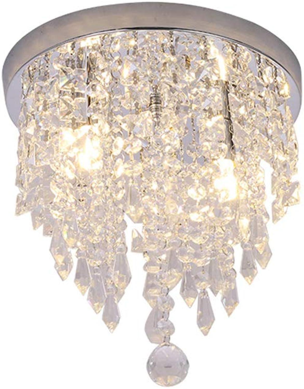 MMJ Kristall-Kronleuchter, Moderne Kronleuchter Kristallkugel Leuchte, 2 Lichter, Unterputz-Deckenleuchte 10 Zoll Durchmesser für Flur, Schlafzimmer, Wohnzimmer, Küche, Esszimmer