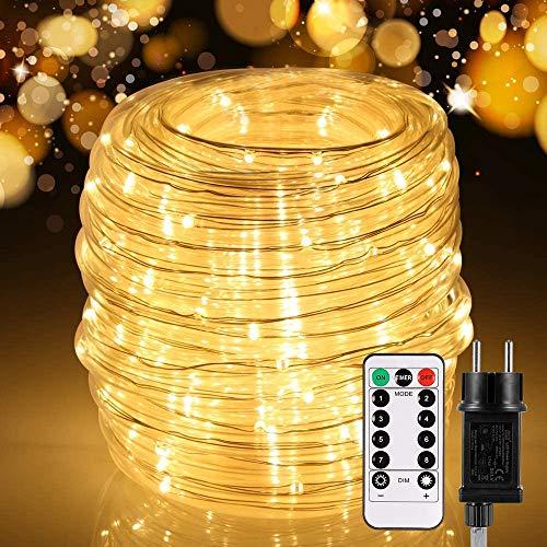 20M LED Lichtschlauch Außen, 336 LEDs Lichterschlauch mit Fernbedienung, 8 modi und Timer, IP65 Wasserdicht Lichterkette, Strombetrieben Lichterketten für Innen Party Weihnachten Deko, Warmweiß