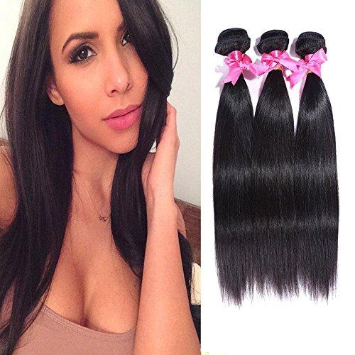 Meylee Postiches Péruvien noir naturel 8-30 pouces cheveux vierges 3pcs Mix longueur droite humaine tissages/Extensions de cheveux , 20 22 24