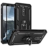 TJS Phone Case Compatible with LG Stylo 5/Stylo 5 Plus/Stylo 5V/Stylo 5X, [Full Coverage Tempered Glass Screen Protector] Impact Resistant Defender Metal Ring Magnetic Support Heavy Duty (Black)