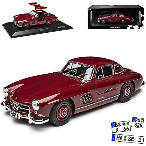 Mercedes-Benz 300SL SL-Klasse Coupe Dunkel Rot W198 1954-1963 Flügeltürer limitiert 300 Stück 1/18 Minichamps Modell Auto mit individiuellem Wunschkennzeichen