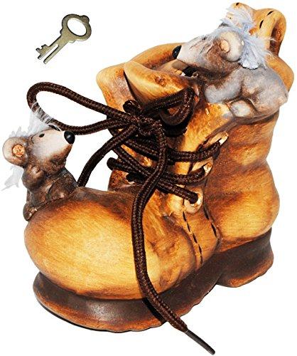 alles-meine.de GmbH Spardose -  lustige Mäuse im Schuh  - mit Schlüssel und Schloss - mit echten Schnürsenkel ! - stabile Sparbüchse aus Keramik / Porzellan - Sparschwein - Sch..