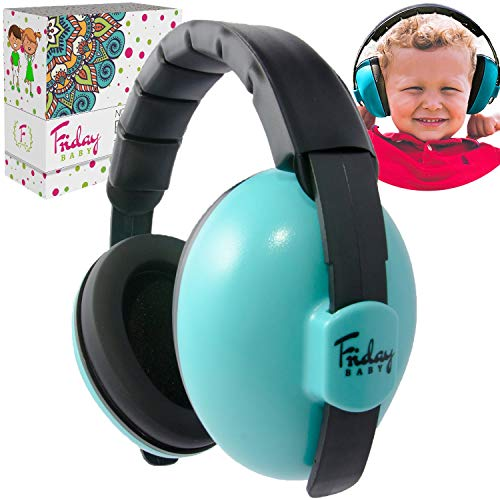 Fridaybaby Baby Ear Protection (0-2+ Years) - Comfortable and Adjustable Noise Cancelling Baby Ear Muffs for Infants & Newborns | Baby Headphones Noise Reduction for Airplanes Fireworks Concerts, Blue