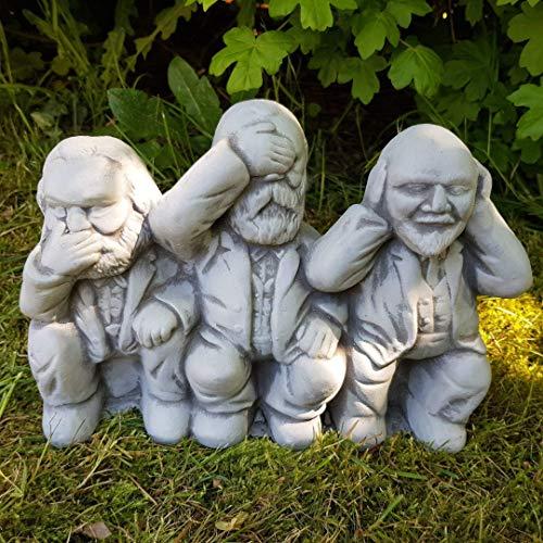 Originelle Gartendeko Figur mit Humor Karl Marx, Engels, Lenin Steinfigur frostfest handgefertigt Deko für außen Garten Balkon Terassen Nostalgie Gartenfiguren DDR Produkte