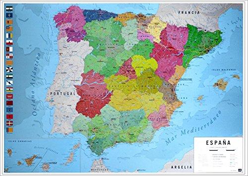 Póster Mapa Físico Político de España (91,5cm x 61cm) + 1 Póster con Motivo de Paraiso Playero