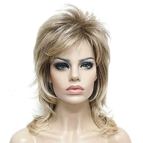 Novopus perruque: Femme Droit Blond Coupe Dégradée Cheveux Synthétiques Balayées Blond Perruque Moyen Sans bonnet Or clair Brun claire StrongBeauty:Brun claire