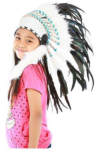 KARMABCN Sombrero de Indio para niño/niña de 5 a 8 años, Gorro de Indio, Tocado de Plumas