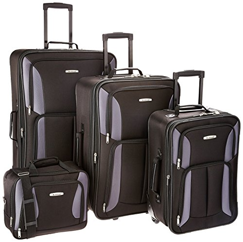 Rockland Journey Softside Upright Luggage Set, Black/Gray, 4-Piece (14/19/24/28)