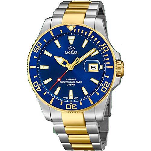 JAGUAR Reloj Modelo J863/C de la colección Executive, Caja de 43,5 mm Azul con Correa de Acero Bicolor para Caballero