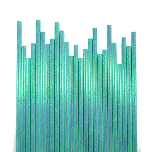 Cartissimi 25 Schimmernde irisierende Mint-Grüne Papierstrohhalme für Meerjungfrauen-Partys
