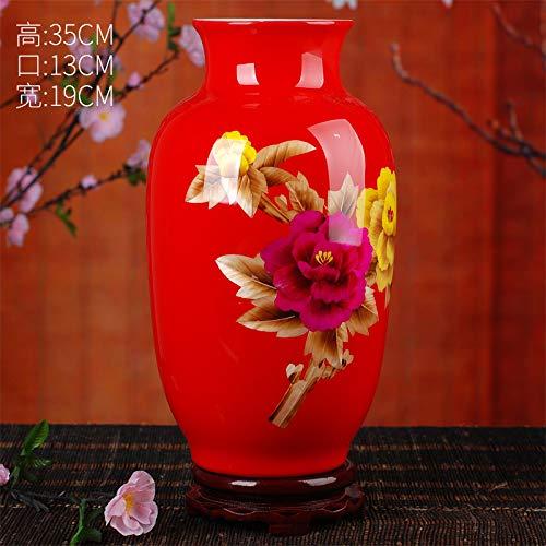 Jingdezhen Keramik bodenvase Moderne Mode chinesische rote Pfingstrose Stroh vase Dekoration Wohnzimmer Dekoration rote Melone Flasche 35 * 19 cm