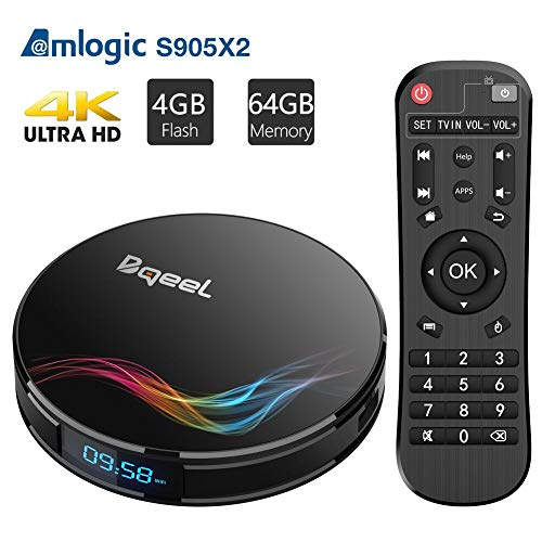【Promoción】 Android TV Box - Bqeel Android 9.0 TV Box 4GB+64GB Amlogic S905X2 Quad Core Arm Cortex A53 con Dual-WiFi 2.4GHz/5.8GHz, BT 4.0, 4K*2K UHD H.265, USB 3.0 Smart TV Box