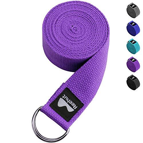 REEHUT Correa para Yoga - Cinturón con Hebilla Metal D-Anillos de Poliéster Algodón Resistente para Ejercicios de Estiramiento, Fitness, Pilates y Flexibilidad (Morado,1.8m,6ft)