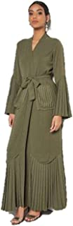 Pleated Abaya Dress Green NN-5