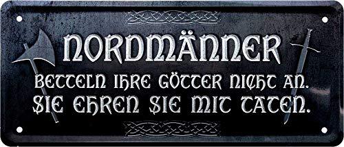 """Blechschilder Lustiger Spruch """"Nordmänner Götter Taten"""" Deko Walhalla Vikinger Odin Metallschild Hauseingang Schild Geschenkidee Witziges Geschenk zum Geburtstag oder Weihnachten 28x12 cm"""
