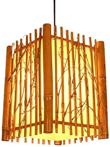 YUMUO Lámpara de mimbre tejida a mano estilo rural bambú ratán hogar luces decorativas creativas hueco 22 cm diámetro pantalla E27 sola cabeza iluminación ahorro de energía lámpara