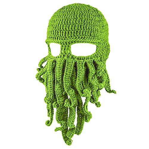 CFPacrobaticS Unisex Winter Warm Octopus Tentacle Full Face Mask Knitted Hat Ski Cap Balaclava Green