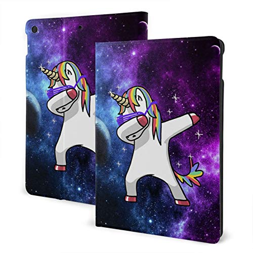 Dabbing Unicorn In The Galaxy IPad 7th 10.2' Generation Case Case Slim Stand Hard Back Shell Protective Smart Cover Case PU Leather Multi-Angle Folio