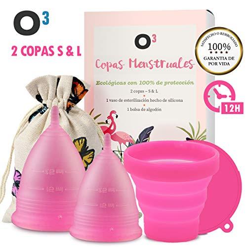O³ Copa Menstrual Ecologica 2 Unidades – S y L – Con Esterilizador Copa...