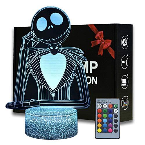 Halloween Town Pumpkin King Jack Skellington 3D ilusión nocturna luz anime lámpara de escritorio con control remoto para dormitorio infantil, iluminación creativa para niños y fans Jack Skellington