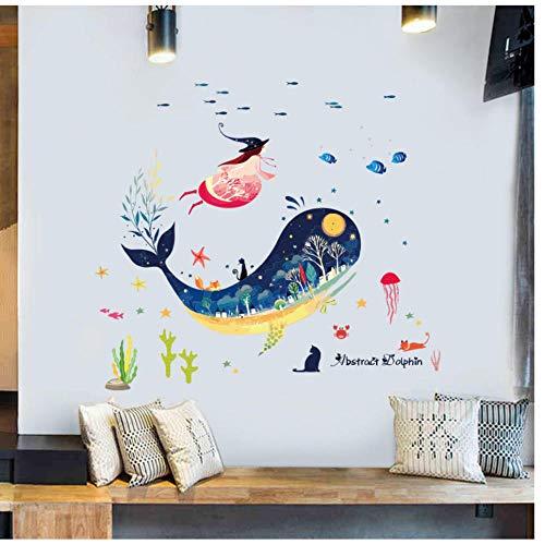 Muursticker Sea World Blue Whale Kleurrijke Fish Animals Vinyl Kunst Wand Raam Bad Decoratie Muursticker voor de kinderkamer 60 x 90 cm