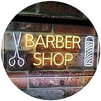 Barber Shop Hair Cut Scissor Pole Display Dual Color LED看板 ネオンプレート サイン 標識 白色 + 黄色 600 x 400mm st6s64-i2044-wy