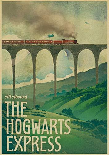 prbll Neue Vintage-Plakate, Harry Potter Hogwarts Express Diagonal Lane Hogsmolder und andere Filmsandalen, Filmplakate, Dekoration Sendeposter 42x30 D54