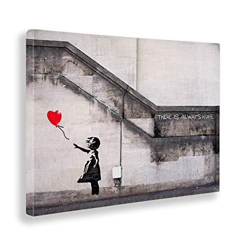 Giallo Bus - Cuadro - Prensa Sobre Tela Canvas - Banksy - Bimba Palloncino Rosso - 70 X 100 Cm