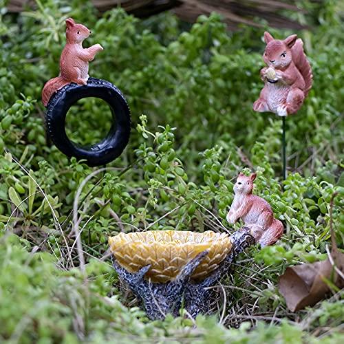 JelyArt Figura decorativa en miniatura de resina para jardín al aire libre, diseño de ardilla para jardín, patio, decoración de macetas (3 ardillas)