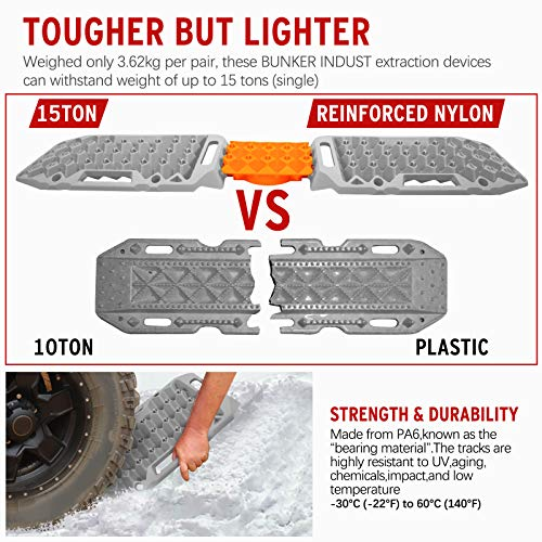 BUNKER INDUST Off-Road Traction Boards with Jack Lift Base,2 Pcs Multifunctional Recovery Tracks Traction Mat for 4X4 Mud, Sand, Snow -Grey Emergency Tire Traction Ladder Tool with Carry Bag