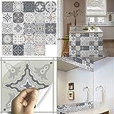 24 pezzi 10x10 adesivi per piastrelle, impermeabile pvc autoadesivo decorazione, adesivi pavimento in 2d sottile per bagno cucina parete fai da te