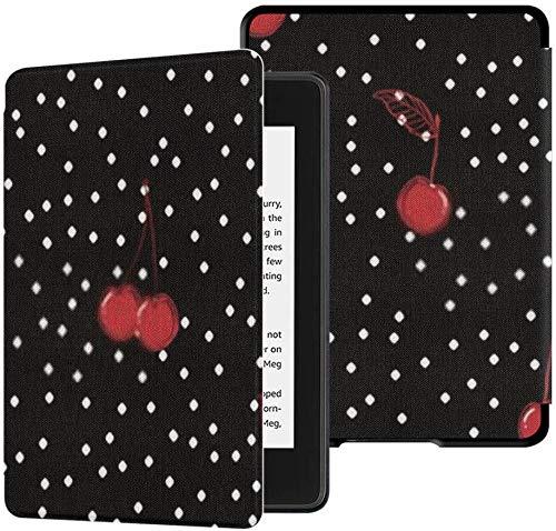 Cubierta de Tela Kindle Paperwhite Resistente al Agua (10a generación, versión 2018), Elegante Funda para Tableta de Cerezas Rojas Dibujadas a Mano