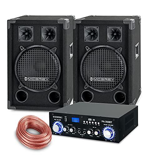 McGrey PA Komplettset DJ Anlage PowerDJ-1200 (System mit Partyboxen, Lautsprecher, 2 x 400 Watt, Bluetooth-Endstufe, Verstärker, Lautsprecherkabel)
