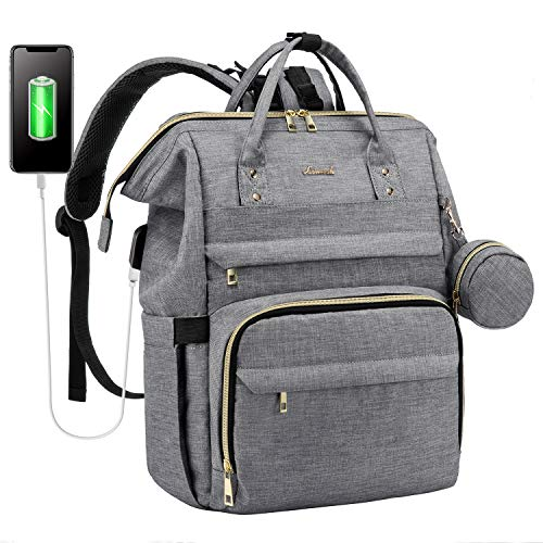 Diaper Bag Backpack Large Baby Bags for Mom, with Hanging Straps and Padded Laptop Compartment, Solid Light Grey