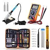 CRZJ Elektrische Lötkolben Set, 60W einstellbare Temperatur Lötkolben Lötwerkzeug Kit, Schalter Handschweißpistole Schweißstift, mit Multimeter