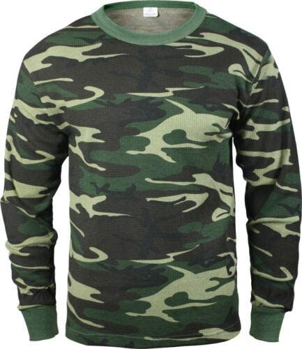 Military Thermal Knit Underwear Cold Weather Long Johns Waffle Warm Base Layer (Camo)