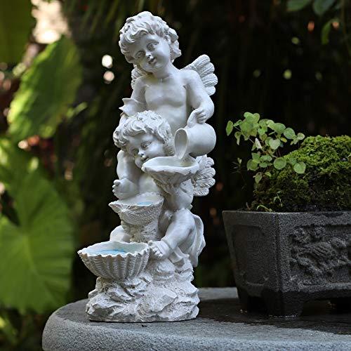 YB&GQ Solar Querubín Estatua Ángeles Jardín Estatua Figurine,guardián Ángel Escultura con Luz Led,Felicidad Decoración Interior Al Aire Libre Patio Blanco 38x17x16cm(15x7x6inch)