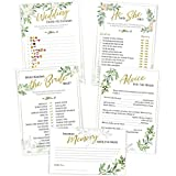 Bridal Shower Games | Set of 5 Activities for 50 Guests, 5x7 Cards | Floral Rustic Greenery Theme | Includes Marriage Advice Cards, Bridal Emoji | Wedding Shower Decorations Favors Party Supplies