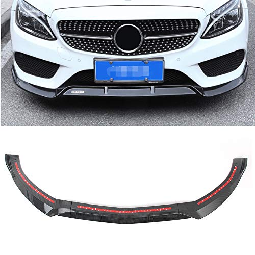 GZYF ABS Auto Front Bumper Lip Cover Trim Compatible with 2015-2018 Mercedes Benz C-Class W205 Sport DP Style, Carbon Fiber Look