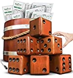 SWOOC Games - Yardzee, Farkle & 20+ Games - Giant Yard Dice Set (All Weather) with Wooden Bucket, 5 Big Laminated Score Cards, and Dry Erase Marker - Jumbo Backyard Lawn Games
