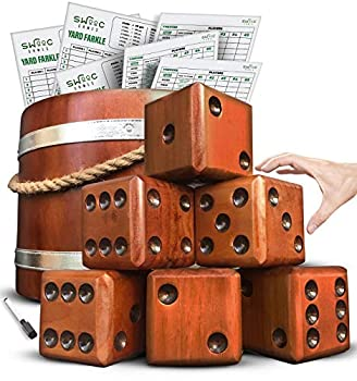 SWOOC Games - Yardzee Farkle & 20+ Games - Giant Yard Dice Set  All Weather  with Wooden Bucket 5 Big Laminated Score Cards and Dry Erase Marker - Jumbo Backyard Lawn Games