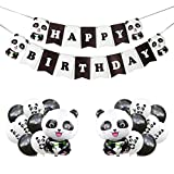 Panda Party Decorations Supplies Happy Birthday Banner Panda Balloons for Kids Panda Birthday Decorations