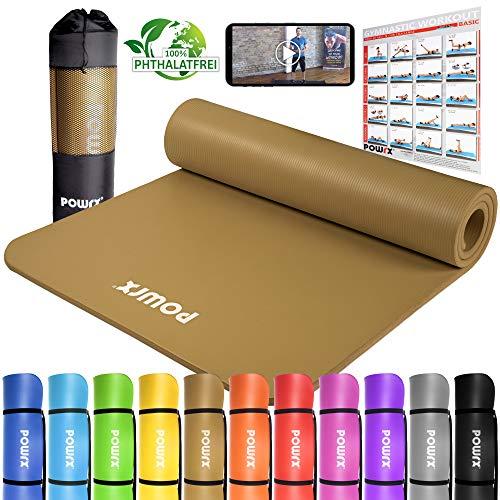 POWRX Gymnastikmatte Premium inkl. Trageband + Tasche + Übungsposter GRATIS I Hautfreundliche Fitnessmatte Phthalatfrei 190 x 60, 80 oder 100 x 1.5 cm (Braun, 190 x 80 x 1.5 cm)